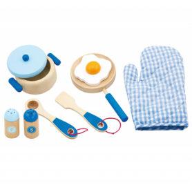Drewniany zestaw kuchenny niebieski do gotowania Viga Toys