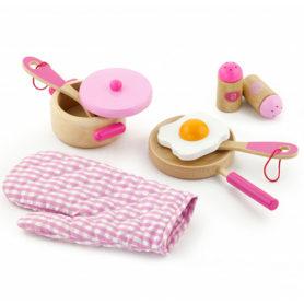 Drewniany zestaw kuchenny różowy do gotowania Viga Toys