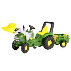 Traktor John Deere na pedały z łyżką i przyczepką