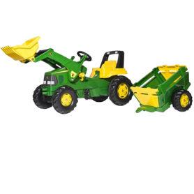 Traktor na pedały z łyżką i przyczepą Junior John Deere Rolly Toys