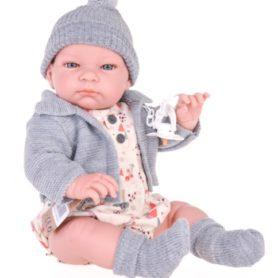 Lalka John realistyczny bobas chłopiec w szarym sweterku 45 cm