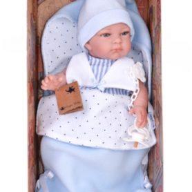 Lalka John realistyczny bobas chłopiec w śpiworku 39 cm