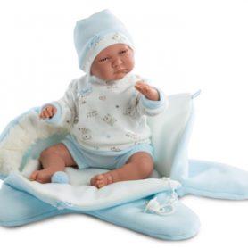 Lalka Lalo bobas chłopiec w niebieskim kombinezonie płacze 42 cm