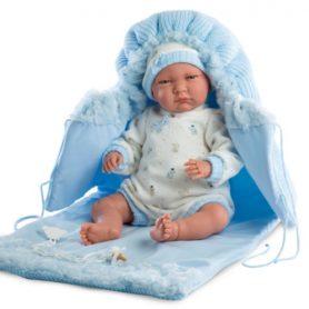 Lalka Lalo bobas chłopiec w niebieskim beciku płacze 42 cm