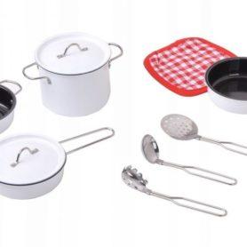 Akcesoria kuchenne metalowe białe dla dzieci
