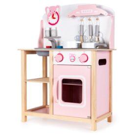 Drewniana kuchnia różowa z dźwiękami Ecotoys